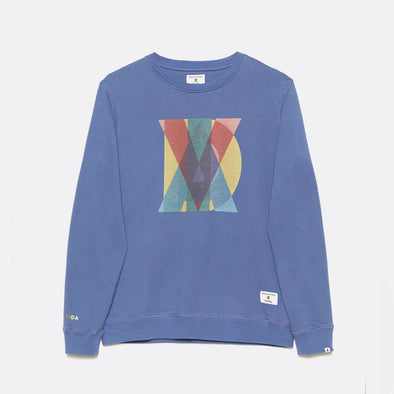 Regular fit organic cotton sweatshirt in blue with chest print.