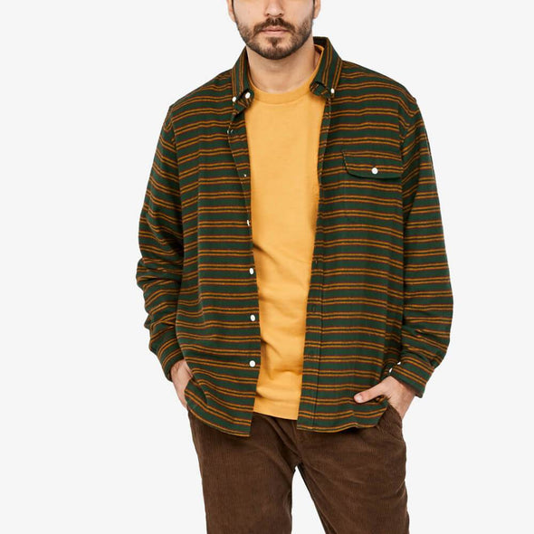 Long sleeved multi striped flannel shirt with chest button down flap pocket.