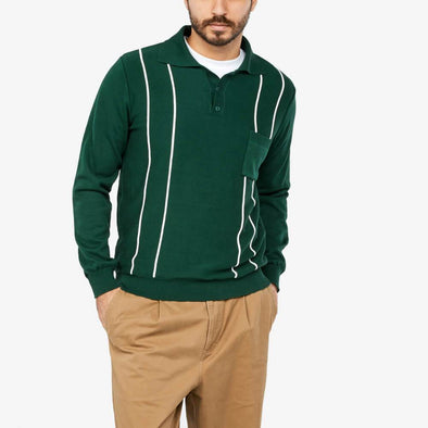 Longsleeve polo with three-button placket with left chest pocket and vertical stripe design.