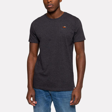 Dark grey regular fit round neck t-shirt with a chest embroidery.
