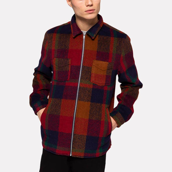 Orange check regular fit overshirt with front zipper.