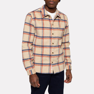 Off-white check regular fit shirt with chest pocket.