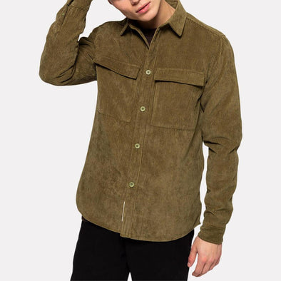 Army green regular fit shirt with two large chest pockets.