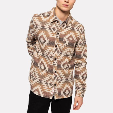 Navajo style regular fit shirt with chest pocket.
