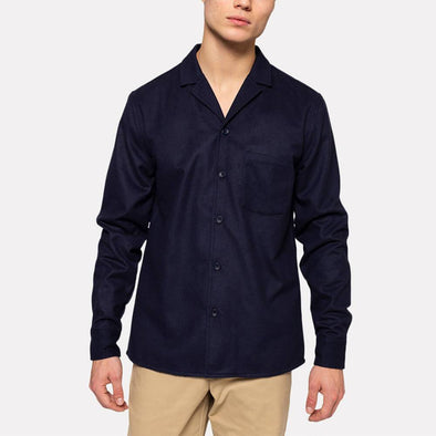 Navy blue regular fit shirt with two large chest pockets.