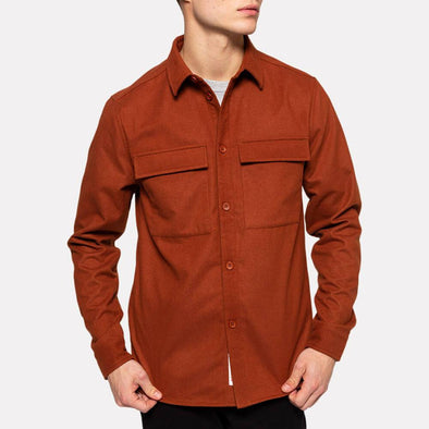 Brick regular fit shirt with two large chest pockets.
