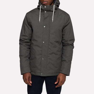 Grey short hooded parka jacket with welt pocket and silver snaps.