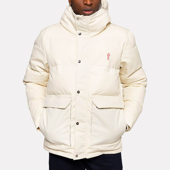 Off-white hooded puffer jacket with two front pockets.