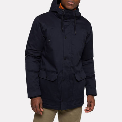 Navy blue parka jacket with a Teflon coating and black trims.