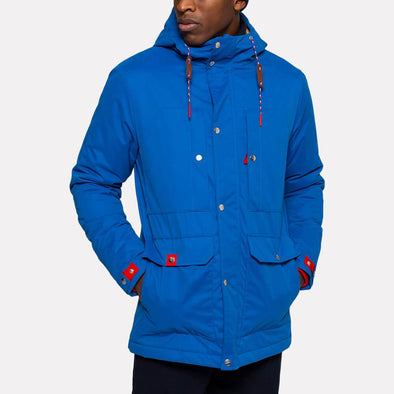Blue parka jacket with a Teflon coating and red details.