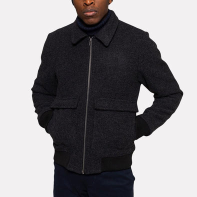 Black melange bomber jacket with big pockets and front zip.