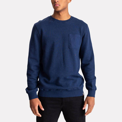 Navy blue regular fit crew sweatshirt with rib detailing.