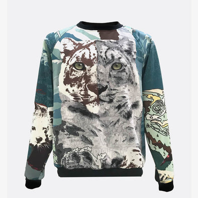 Unisex printed neoprene sweatshirt, features a animal print in various shades of blue made in collaboration with the street artist Edis One.