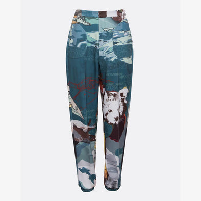Trousers made in neoprene, featuring exclusive extinction print in various shades of blue made in collaboration with the street artist Edis One.