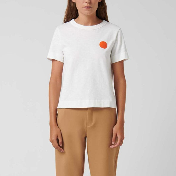 White regular-fit t-shirt with a dot print on the chest and text on the lower back.