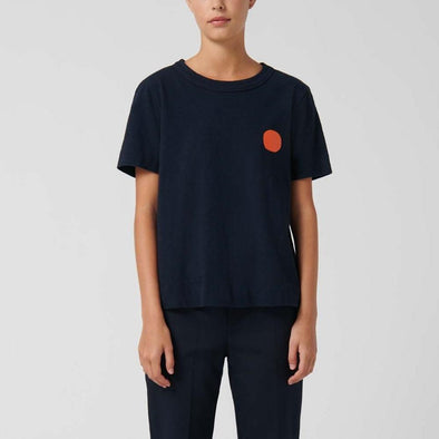 Navy blue regular-fit t-shirt with a dot print on the chest and text on the lower back.