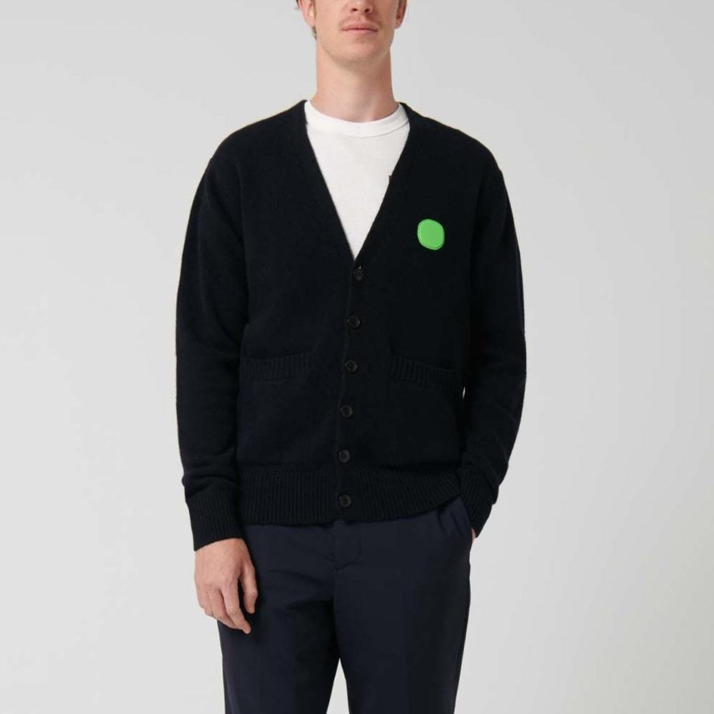 Navy blue regular fit cardigan with rubber patch detail on the chest.