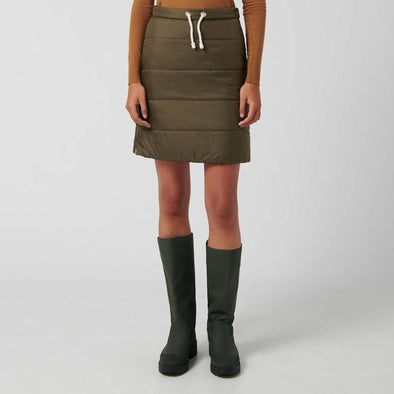 Olive green padded skirt with side zip closure and concealed hook.