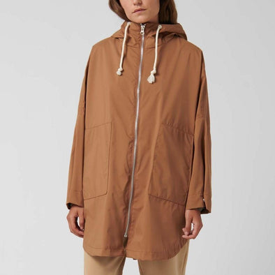 Camel cape-style jacket with adjustable hood.