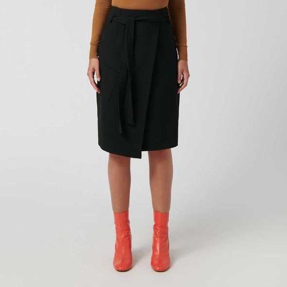 Black wrap-around knee-length sarong-style skirt with concealed button closure.