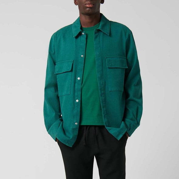 Green relaxed-fit overshirt with lapel neck.