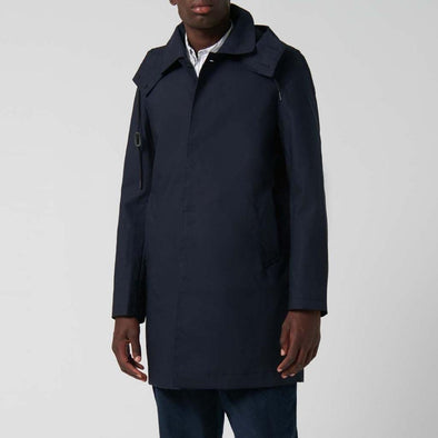 Navy raincoat with shirt collar with hood adjustable with drawcord and detachable with buttons and front welt pockets.