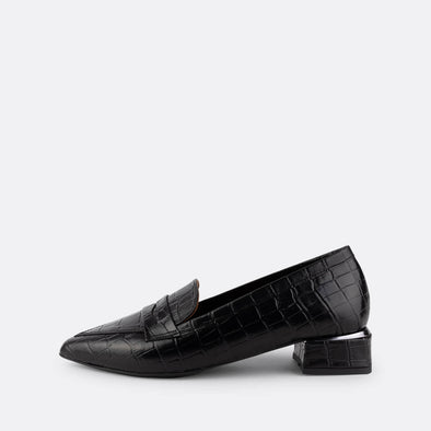 Black leather smart loafers with crocodile engraved texture and detail on the heel.