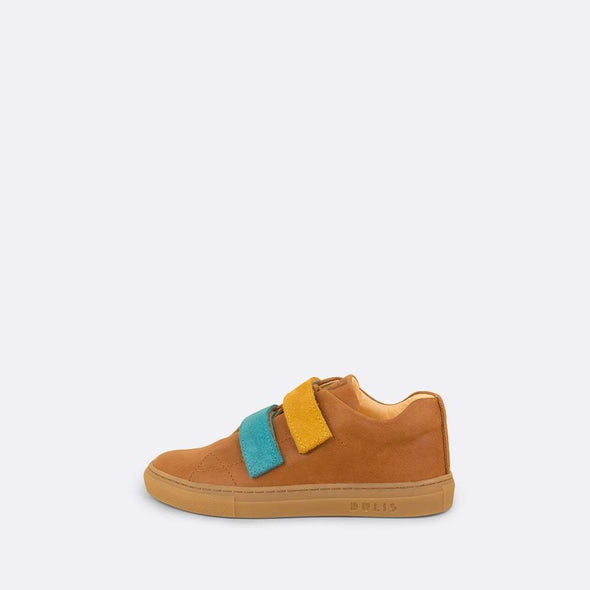 Kids' sneaker in camel leather with multi-color velcro straps.