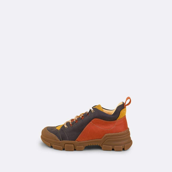 Kids' multi-color suede chunky runners with brown rubber track sole and mountain laces.