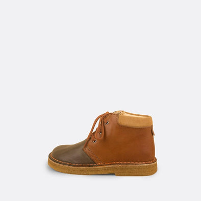 Kids' camel desert boots with suede detail.