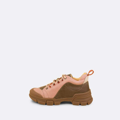Kids' green and pink leather chunky runners with brown rubber track sole and mountain laces.