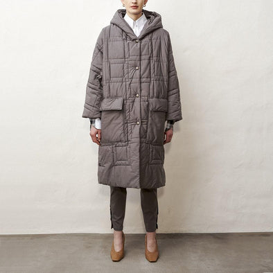 Long hooded quilted coat with large pockets.