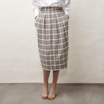 Grey plaid midi skirt with high paperbag waist and waist ties.