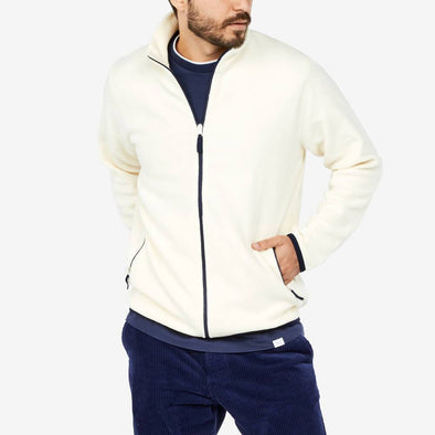 Teddy fleece sweatshirt jacket kitted out with contrasted side pockets with a funnel neck.