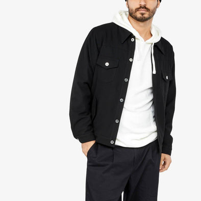 Black bomber jacket with two chest pockets.