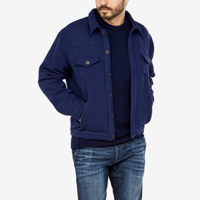Bomber jacket in navy blue wool.