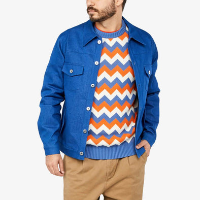 Denim western jacket in electric blue.