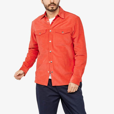 Red cotton overshirt with chest pockets.