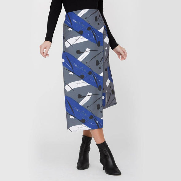 Asymmetric pencil skirt with crossed fabric on front.