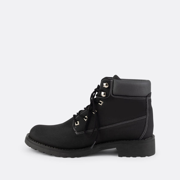 "Black lace-up boots featuring the brand's signature ""V"" on the tongue."