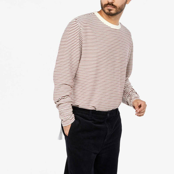 Striped longsleeve with crew and contrast neckband.