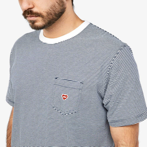 Relaxed fit striped t-shirt with embroidery chest pocket.