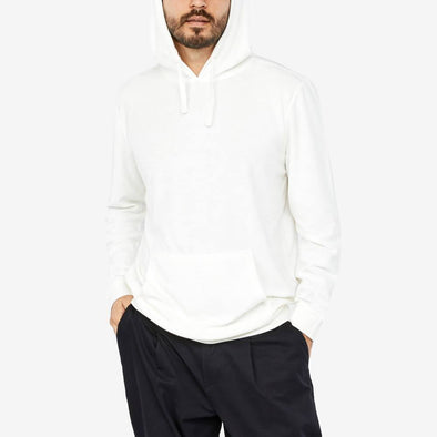 White hoodie with front pocket.