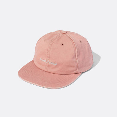 Deconstructed 6-panel pink snapback, embroidery logo on front.