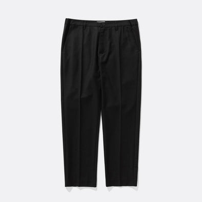 Black cropped suit pants with a cropped tapered fit, featuring a subtle self side panel detail.