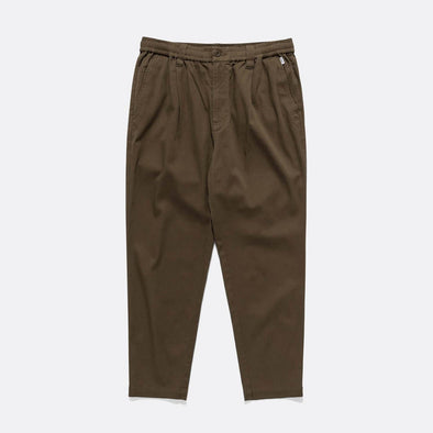 Brown straight and elastic fit pants, features chino styling that has front darts for slightly more shaped.