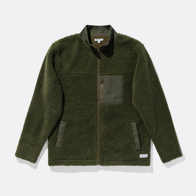 Faux shearling green fleece jacket with tonal cotton twill chest pocket and front pockets.