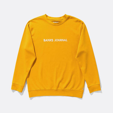 Yellow regular fit sweatshirt with front label logo in white.
