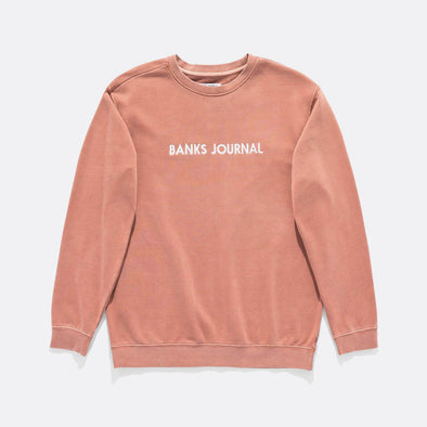 Pink regular fit sweatshirt with front label logo in white.