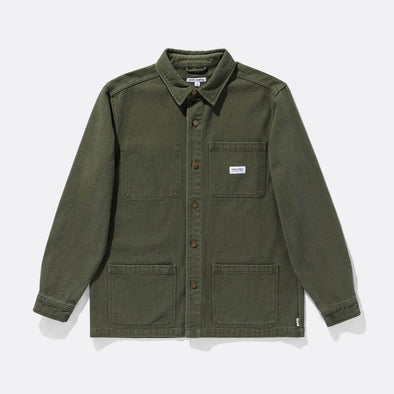 Military styling green jacket with standard fit collar, button up and double chest and body pockets.